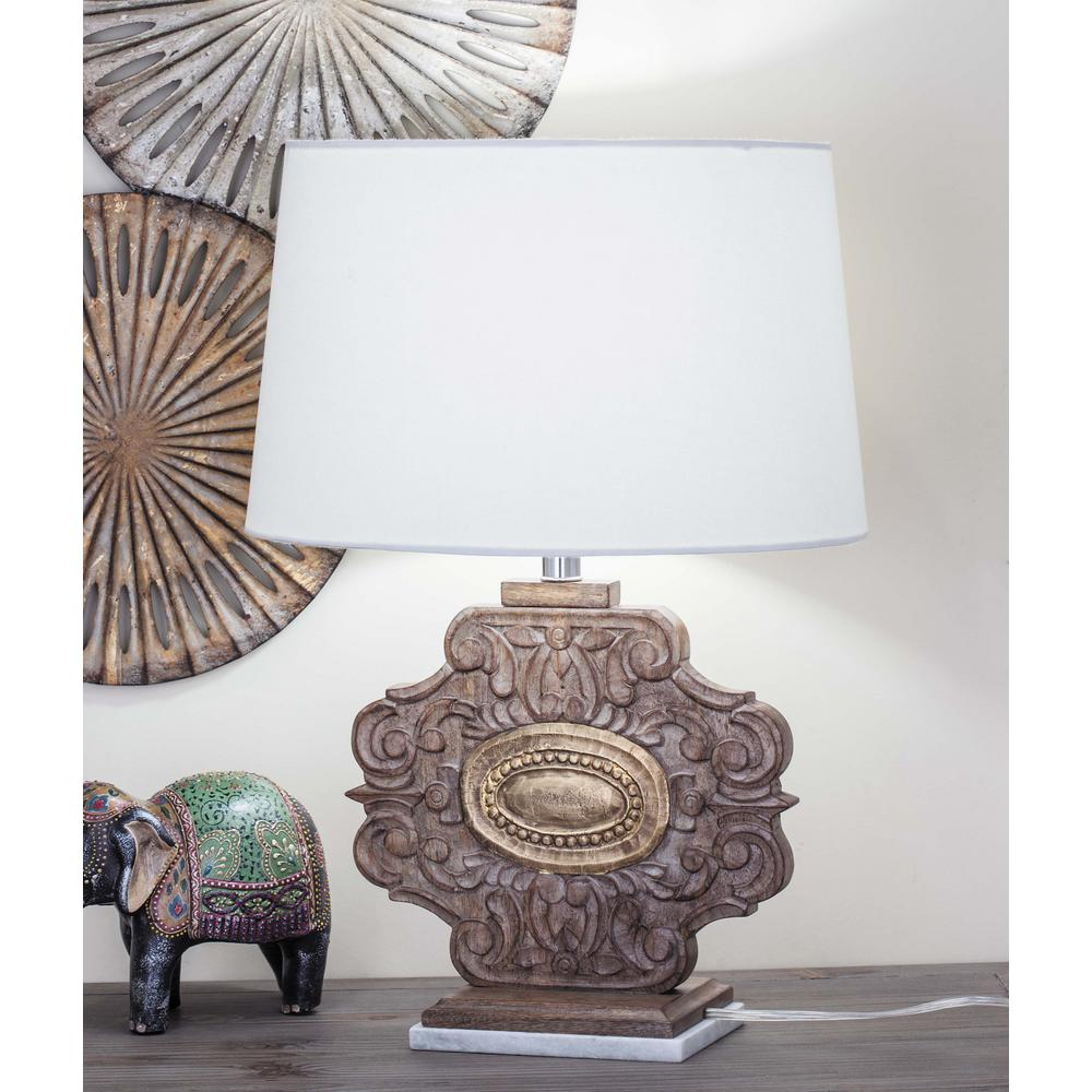 23 in. White Marble and Brown Carved Wood Table Lamp