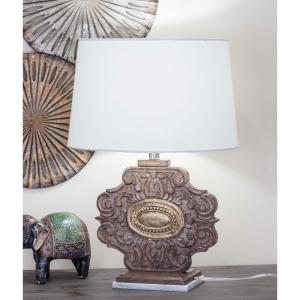 Click here to buy  23 inch White Marble and Brown Carved Wood Table Lamp.