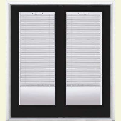72 in. x 80 in. Jet Black Fiberglass Prehung Left-Hand Inswing Mini Blind Patio Door w/ Brickmold Vinyl Frame