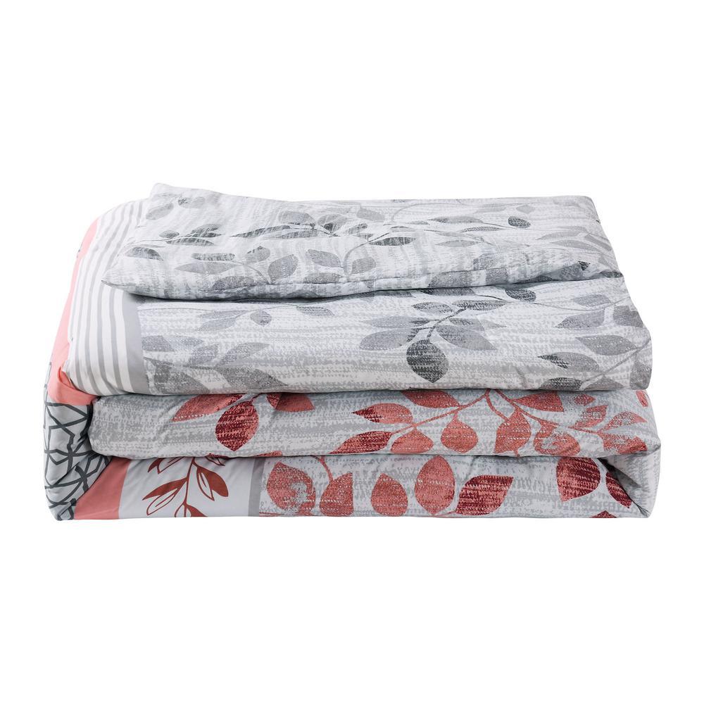 Breezy 7-Piece Coral/Grey King Comforter Set