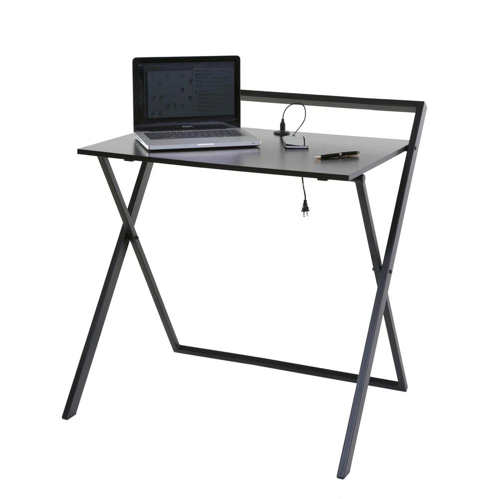 Onespace No Assembly Dark Brown And Black Folding Desk With Dual Usb Charger