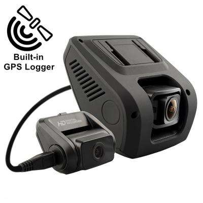 V1LG 2.4 in. LCD FHD 1080p 170-Wide Angle Dual Channel Dashboard Camera Recorder with Rear Camera and GPS Logger