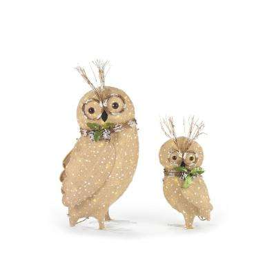 Pre-Lit Burlap Owl Family (Set of 2)