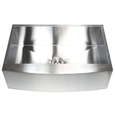 Farmhouse Curve Apron-Front 30 in. x 21 in. x 10 in. Stainless Steel 16-Gauge Single Bowl Zero Radius Kitchen Sink