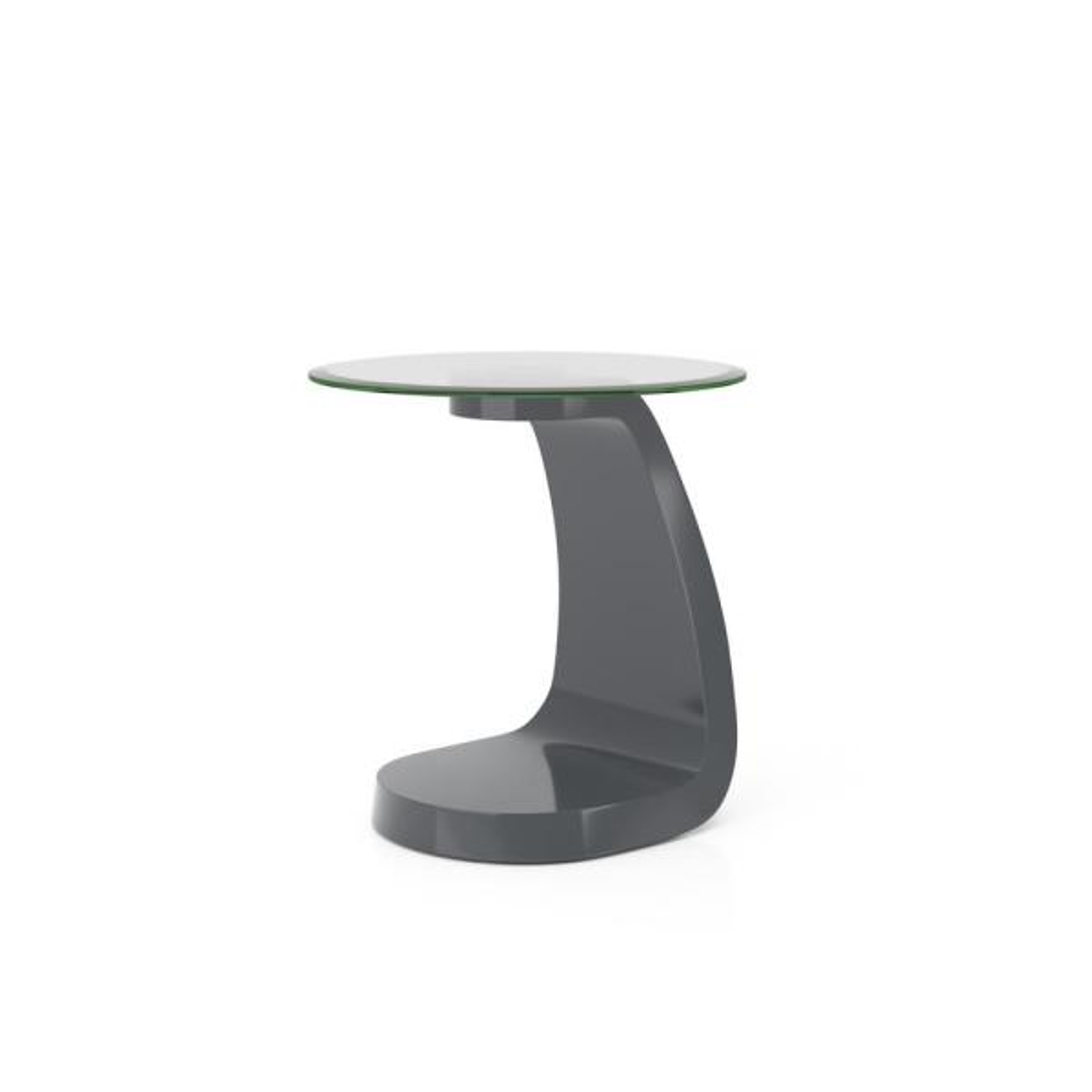 Glennda 23.38 in. H Gray High Gloss End Table