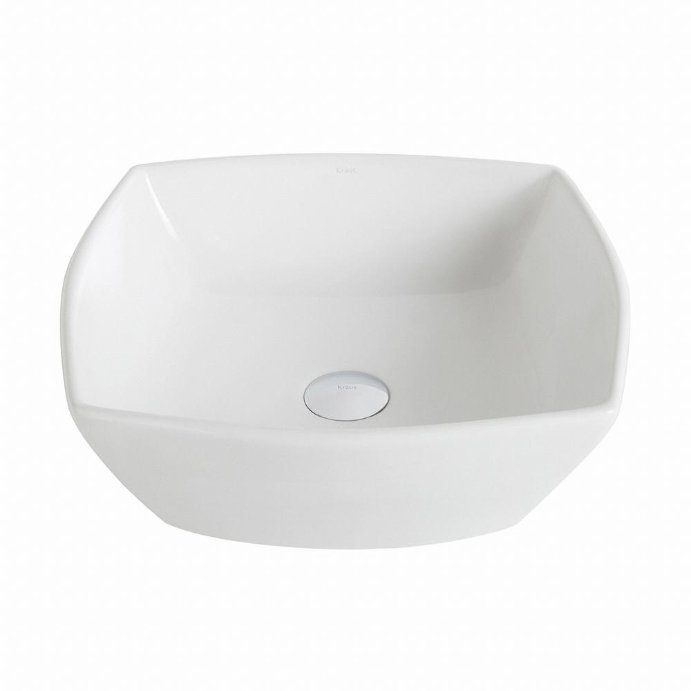Elavo Flared Square Ceramic Vessel Bathroom Sink in White