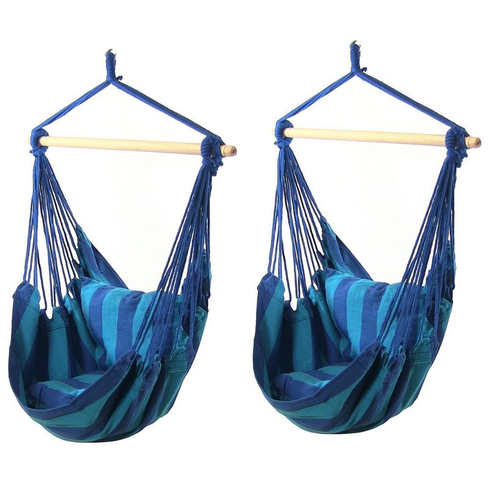 0b54f4fe5a7b Sunnydaze Decor 3.5 ft. Fabric Hanging Hammock Swing with 2 Cushions ...
