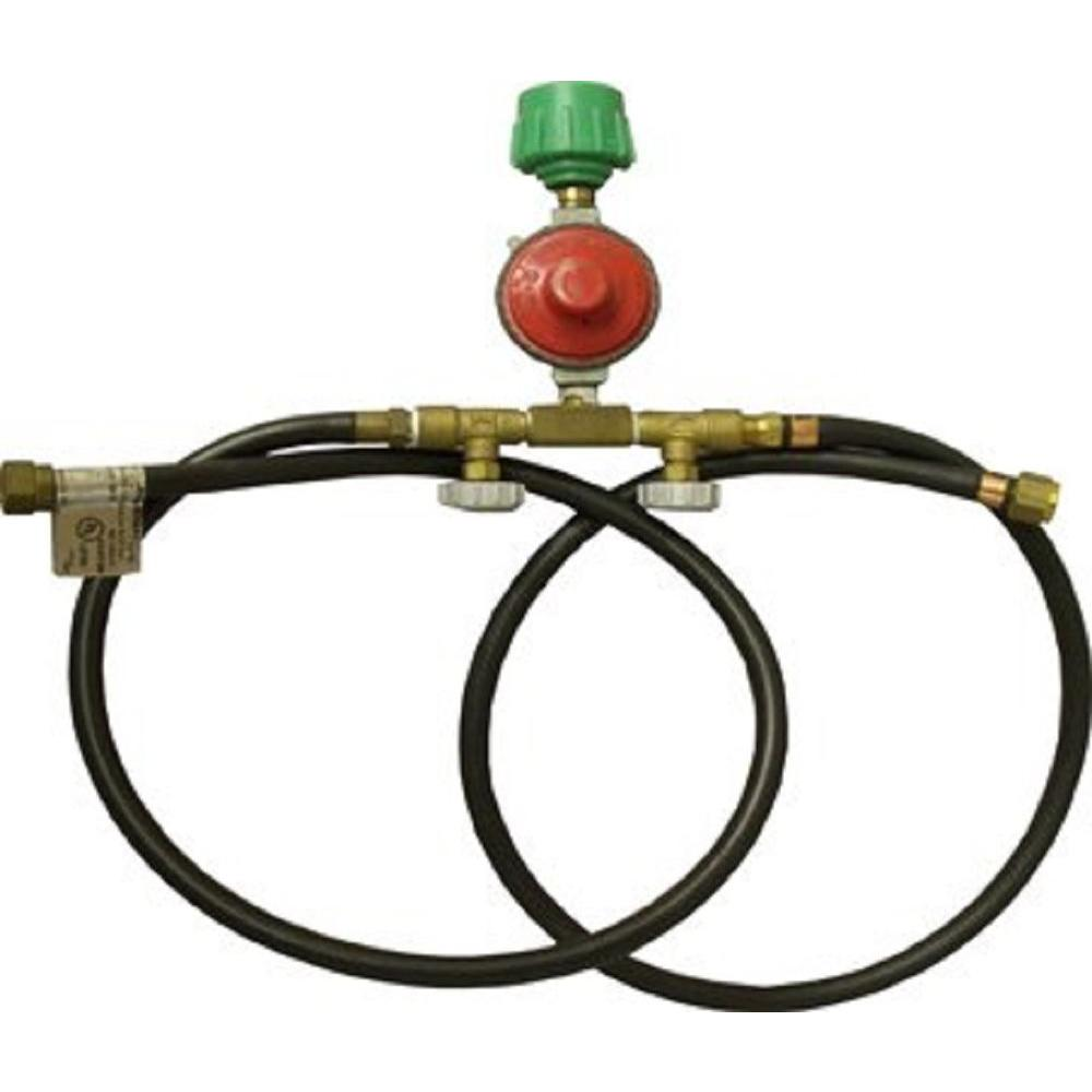 King Kooker High Pressure Regulator with Type 1 Connection, Manual Valves and 2 Hoses with 3/8 in. Female Flare