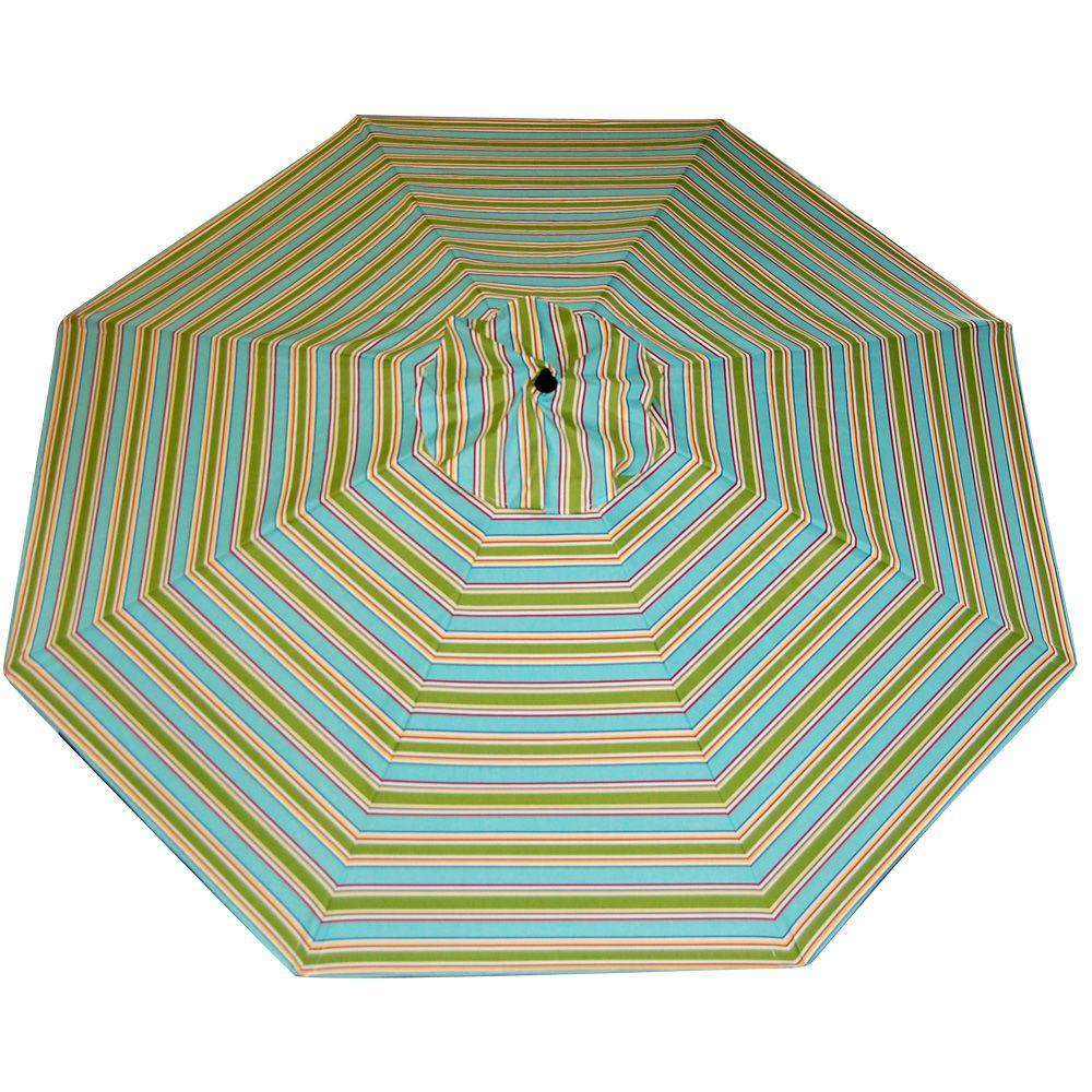 Plantation Patterns 11 ft. Patio Umbrella in Beach Stripe-DISCONTINUED