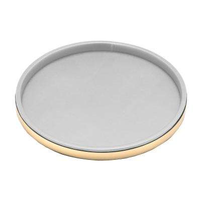 Sophisticates 14 in. Round Serving Tray in White and Polished Brass