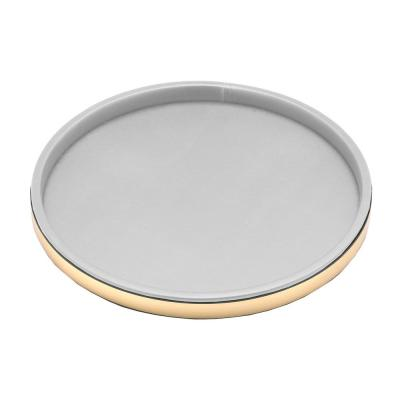 Sophisticates 14 in. White Vinyl and Polished Brass Round Serving Tray (Case of 12)