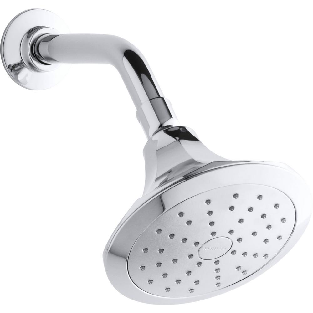KOHLER Memoirs 1-Spray 5.5 in. Showerhead with Katalyst Air Induction Technology in Polished Chrome