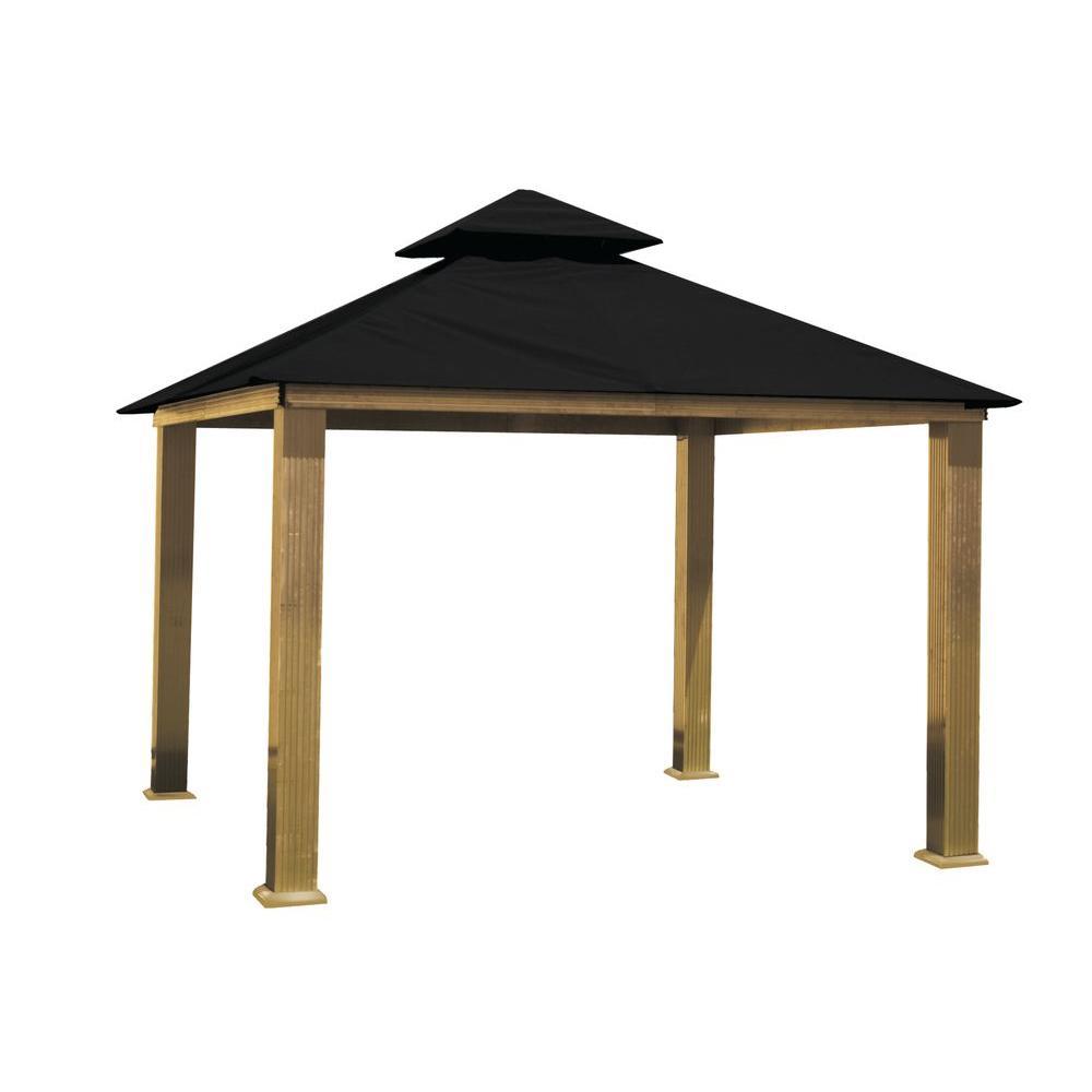 12 ft. x 12 ft. ACACIA Aluminum Gazebo with Black Canopy by