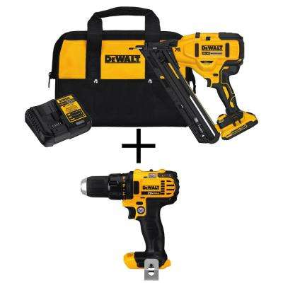 20-Volt Max Lithium-Ion Cordless 15-Gauge Finish Nailer with Bonus Bare 20-Volt MAX Cordless Compact Drill/Driver