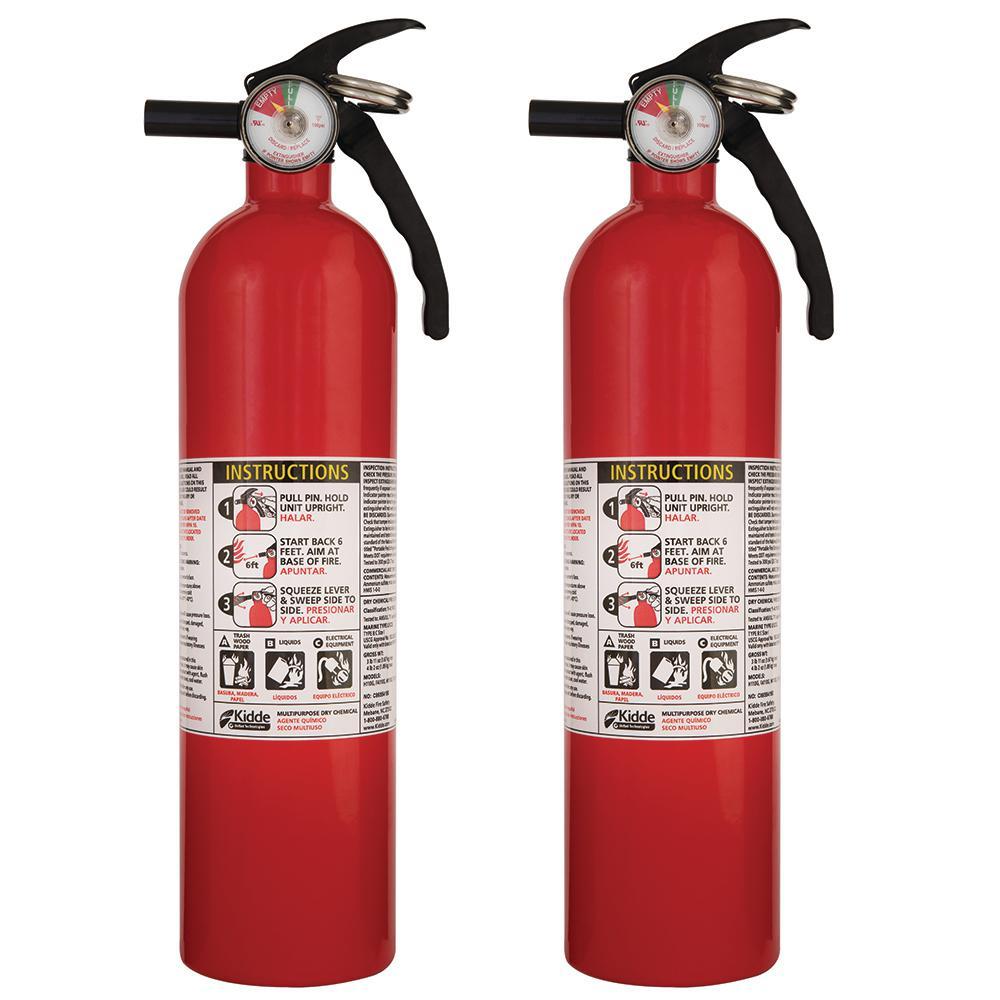 2-Pack Kidde FA110 Multi Purpose Fire Extinguisher