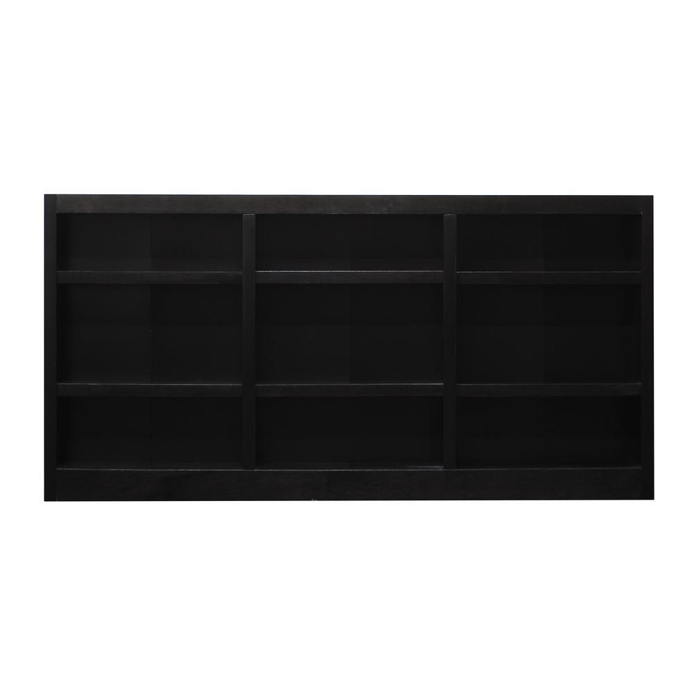 9 Shelf Triple Wide Wood Bookcase, 36 in. H, Espresso Finish