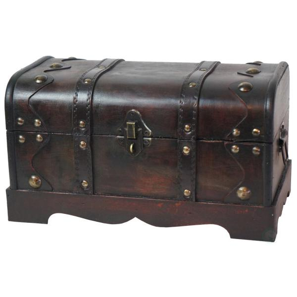 12 in. x 6.8 in. x 6.8 in. Wooden Small Pirate Style Treasure Chest