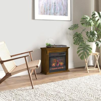 21.50 in. Freestanding Wall Mantel Infrared Quartz Electric Fireplace with Crackling Sound in Burnished Walnut
