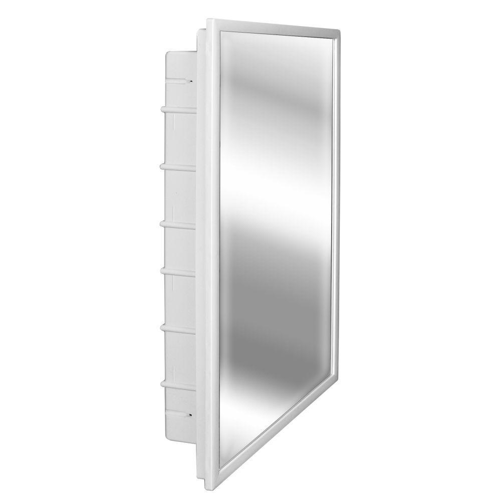ZACA SPACECAB Capella 16 in. x 26 in. x 3-1/2 in. Framed Recessed 1-Door Bathroom Medicine Cabinet with 6-Shelves and White Frame