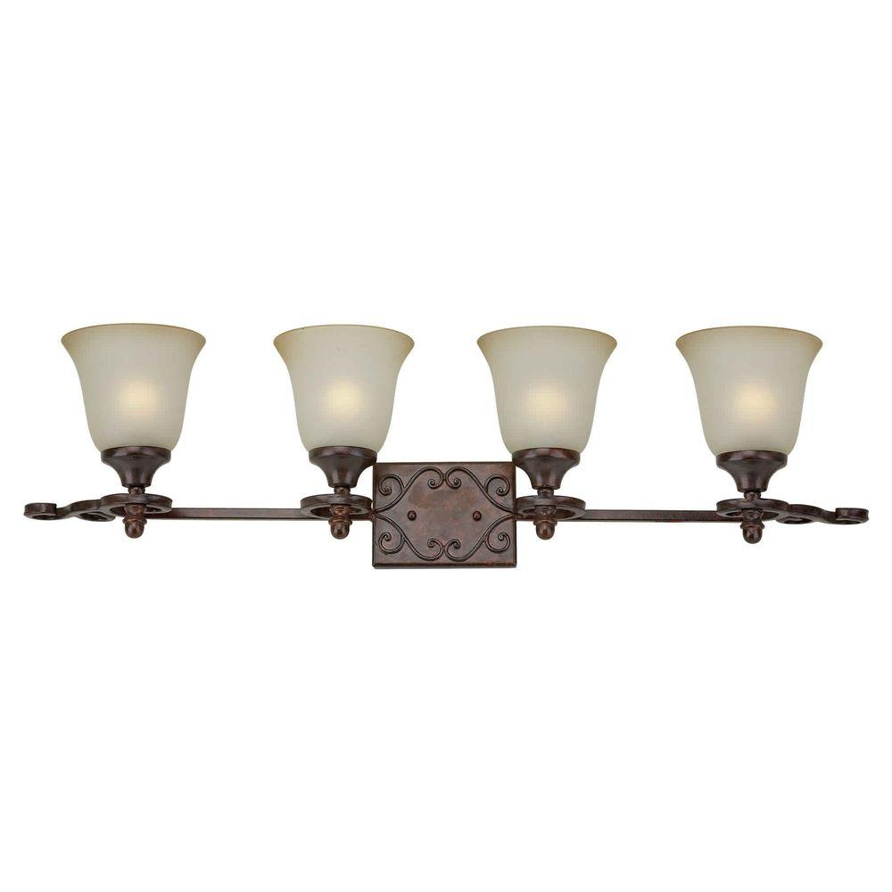 Talista 4-Light Black Cherry Bath Vanity with Shaded Umber Glass Shade