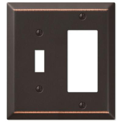 Metallic 2 Gang 1-Toggle and 1-Rocker Steel Wall Plate - Aged Bronze