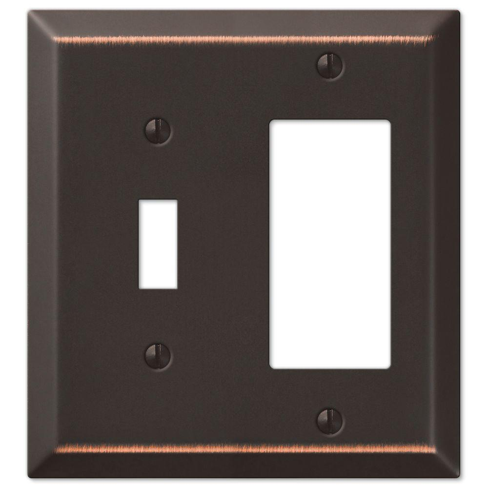 Century Steel 1 Toggle 1 Decora Wall Plate in Aged Bronze