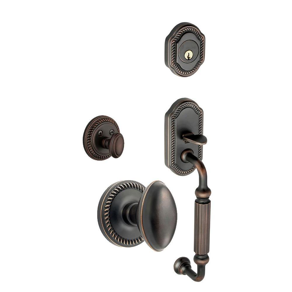 Grandeur Newport Single Cylinder Timeless Bronze F-Grip Handleset with Eden Prairie Knob