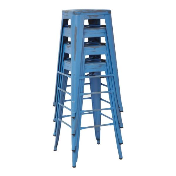 Bristow 30 in. Antique Royle Blue Metal Bar Stool (Set of 4)