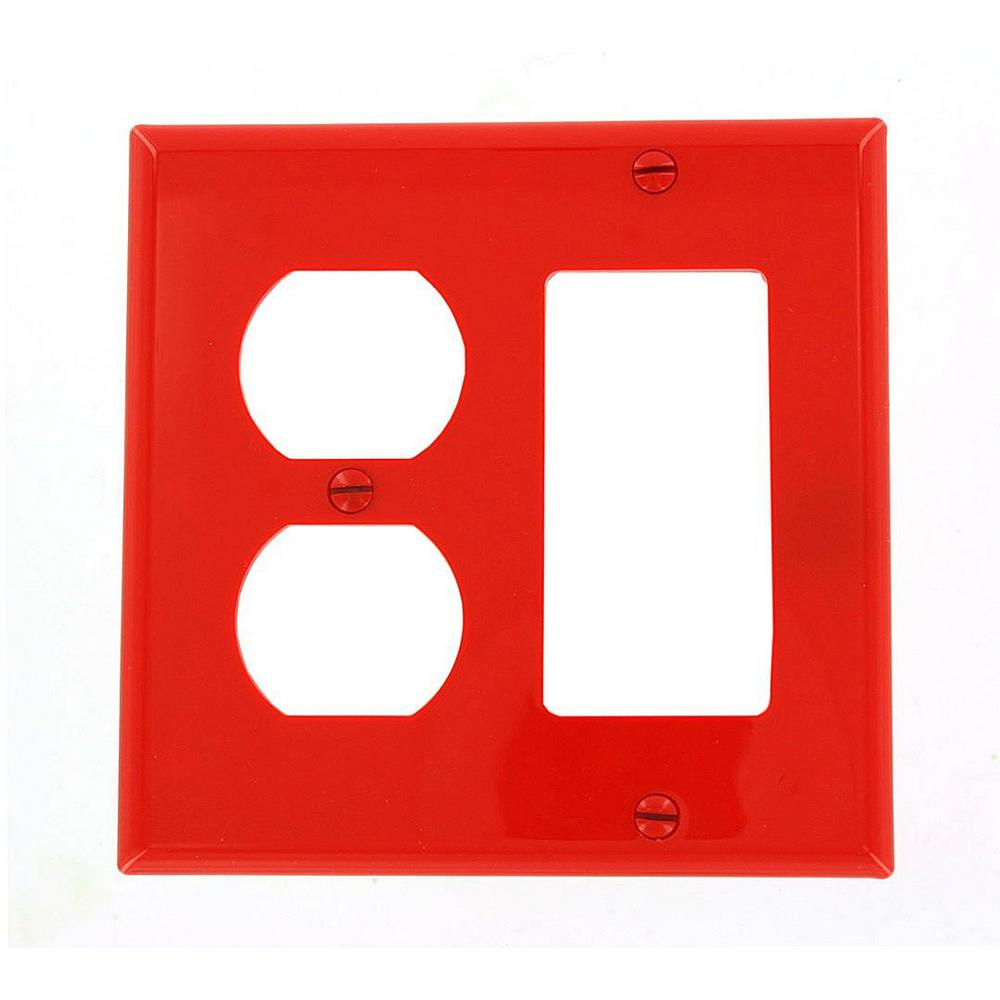 2-Gang Standard Size 1-Duplex Receptacle 1-Decora Nylon Combination Wall Plate,
