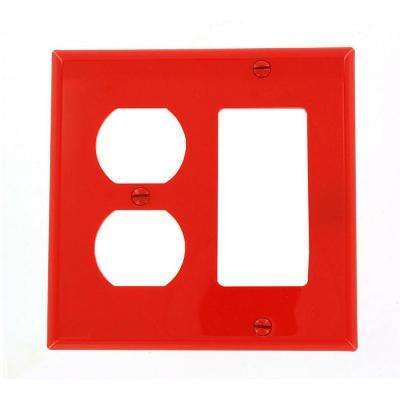 2-Gang Standard Size 1-Duplex Receptacle 1-Decora Nylon Combination Wall Plate, Red
