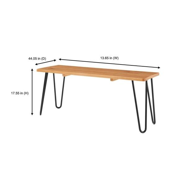 StyleWell - Banyan Honey Brown Metal Backless Dining Bench with Metal Hairpin Legs (13.65 in. W x 17.55 in. H)