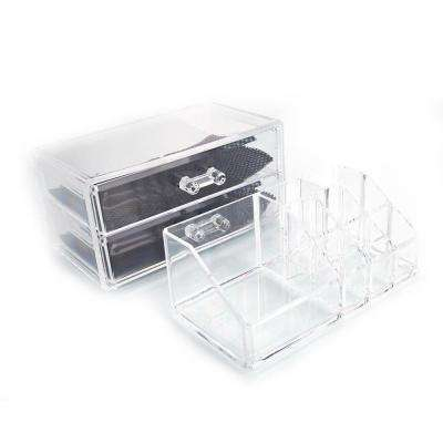 7 in. H x 4 in. W x 6 in. D SF-1063 Transparent Plastic Cosmetics Storage Rack with 2-Drawer (2-Piece)