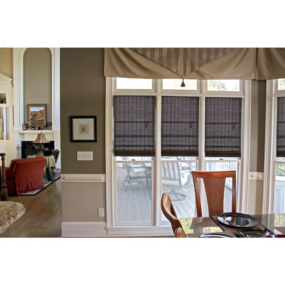 Home Decorators Collection Espresso Beveled Reed Weave Bamboo Roman Shade - 23 in. W x 72 in. L