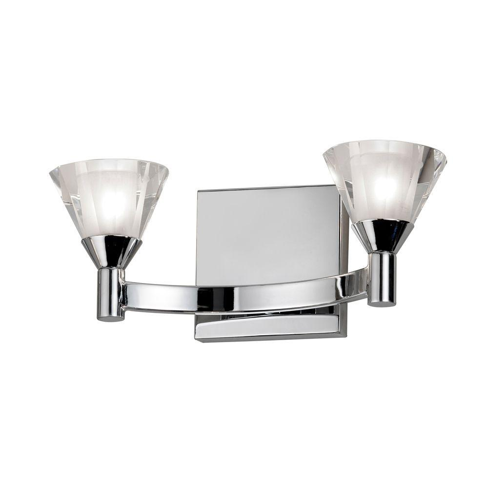 Catherine 2-Light Polished Chrome Halogen Vanity Light with Crystal Shades