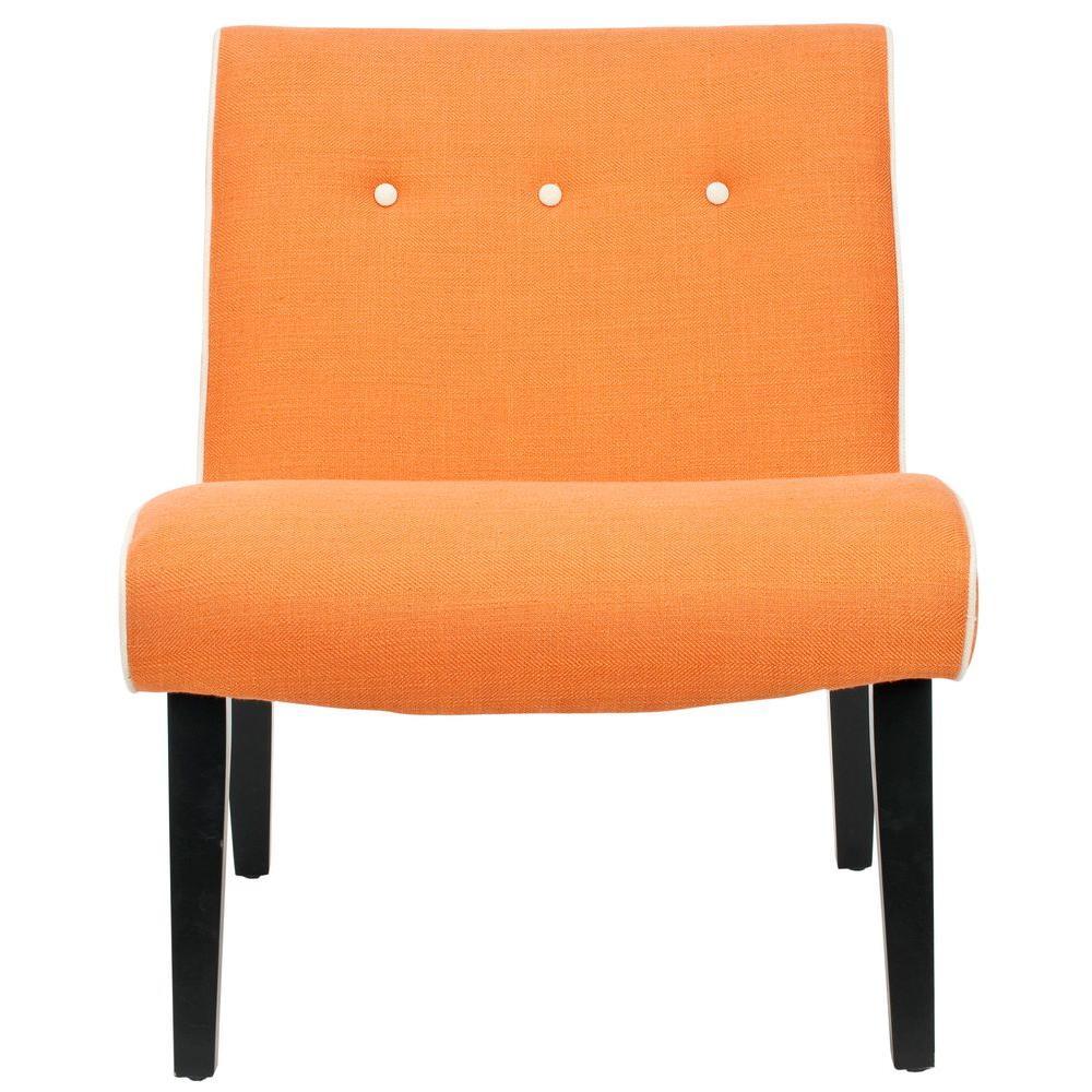 Safavieh Mandell Orange Linen Blend Accent Chair, Orange/...