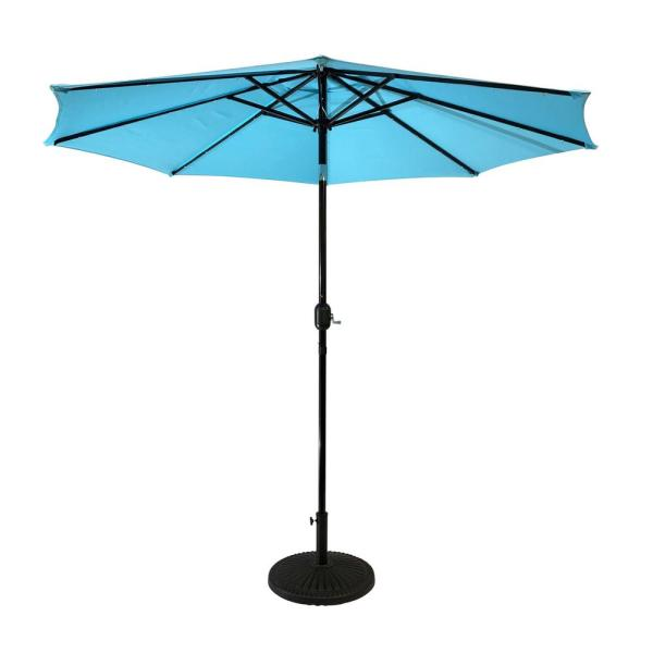 9 ft. Steel Market Solar Lighted 8-Rib Round Patio Umbrella in Aqua