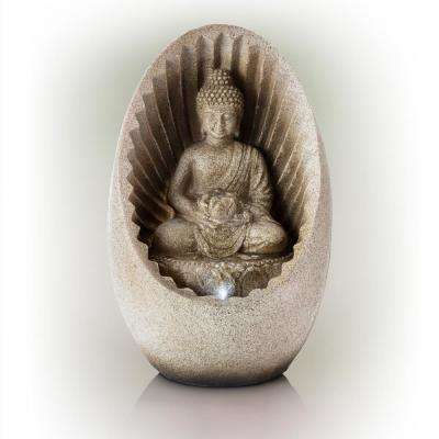 """Alpine Corporation 11"""" Tall Indoor/Outdoor Buddha Tabletop Water Fountain with LED Lights"""