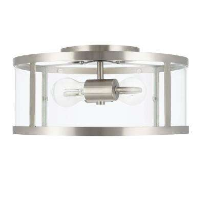 13 in. 2-Light Brushed Nickel Flushmount with Clear Glass Shade