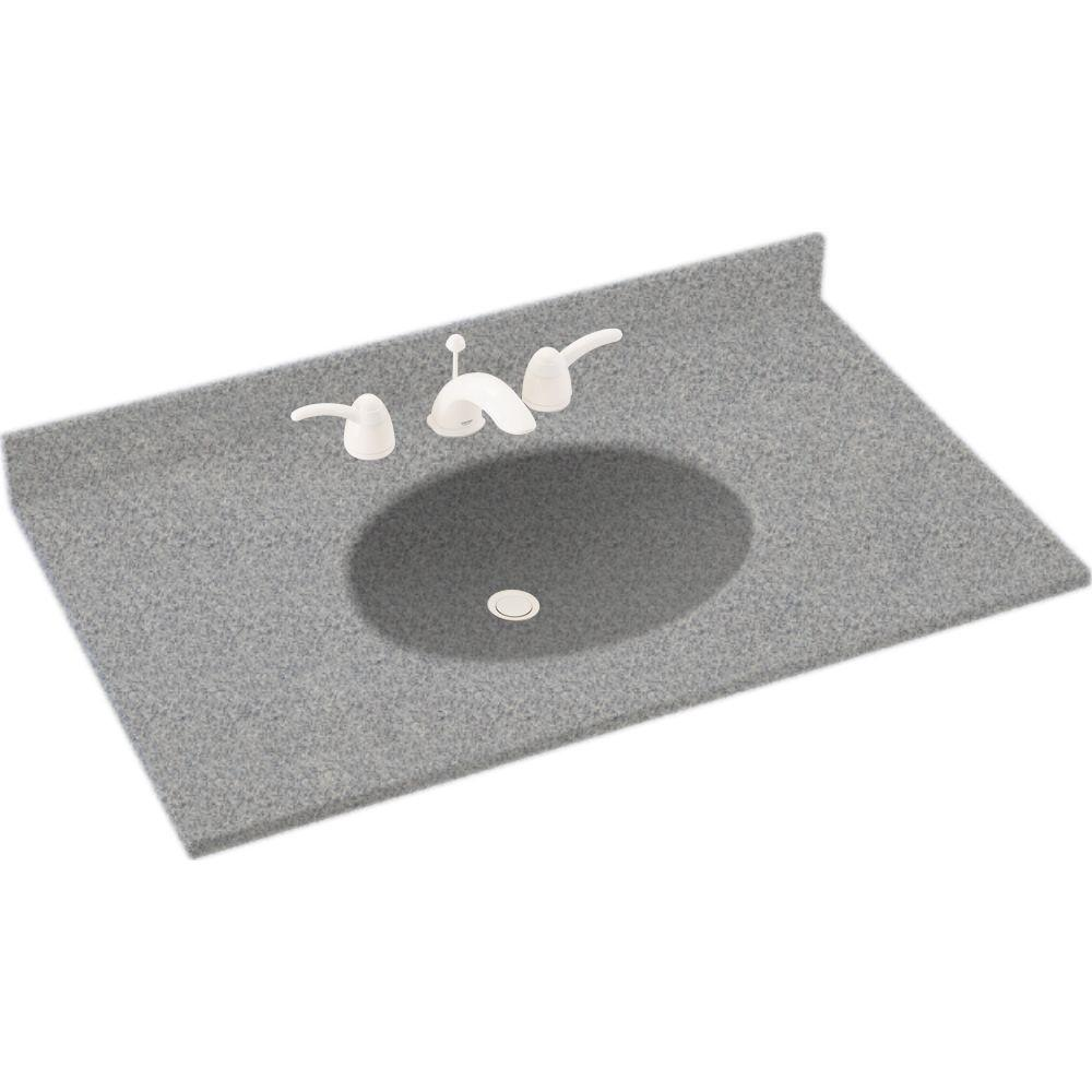 Ellipse 61 in.W x 22 in. D Solid Surface Double Basin Vanity Top in Gray Granite with Gray Granite Basin