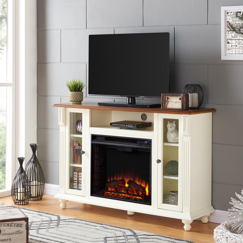 White tv stand with electric fireplace - Southern Enterprises Fossil Creek 52 In Electric Fireplace Tv Stand In Antique White
