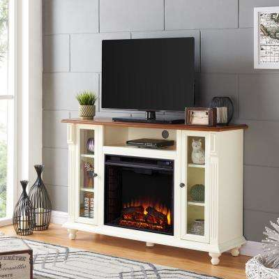 Fossil Creek 52 in. Electric Fireplace Tv Stand in Antique White