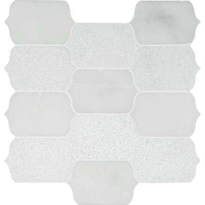 Calypso Blanco Lotus Pattern 12 in. x 12 in. x 10 mm Marble Mesh-Mounted Mosaic Tile (10 sq. ft. / case)
