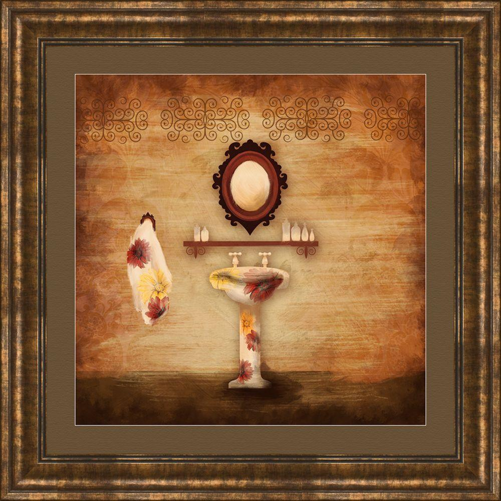 "PTM Images 17-1/4 in. x 17-1/4 in. ""Poppy Bath B"" Framed Wall Art"