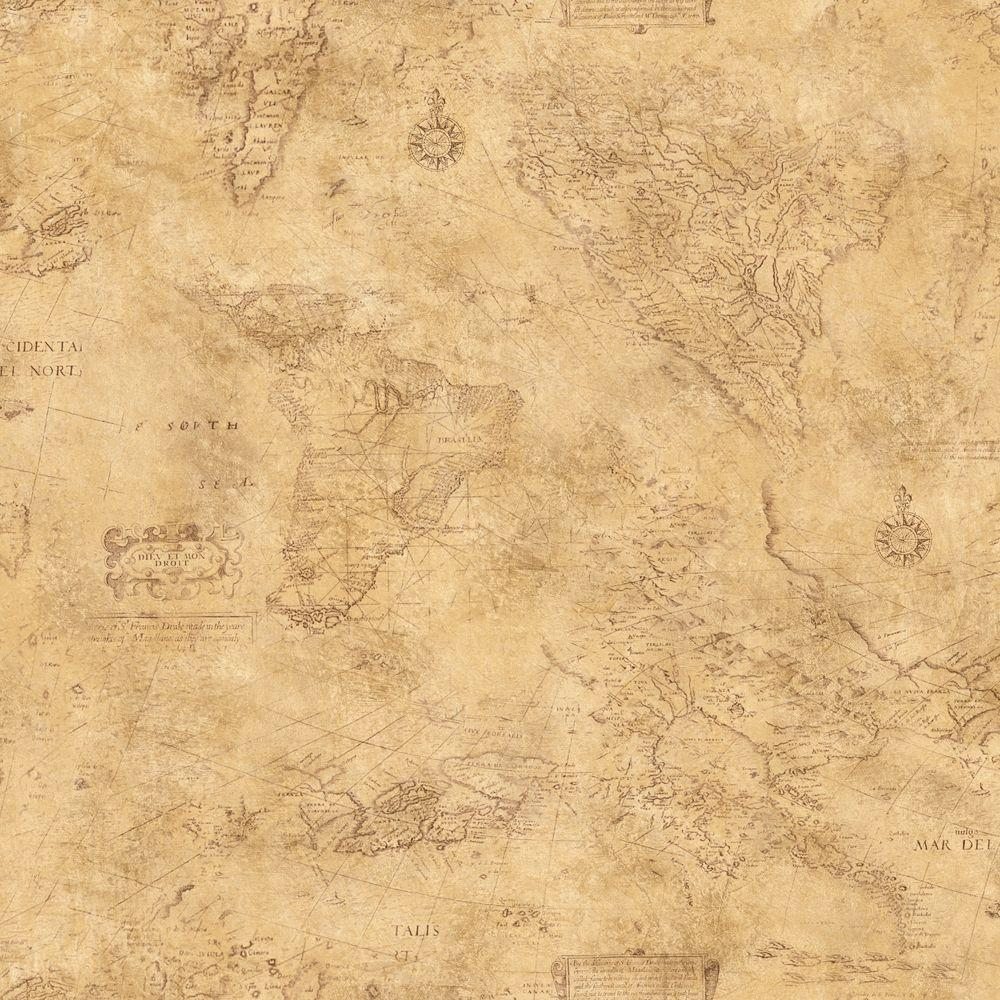 The Wallpaper Company 56 sq. ft. Earth Tone Map Toile Wallpaper-DISCONTINUED