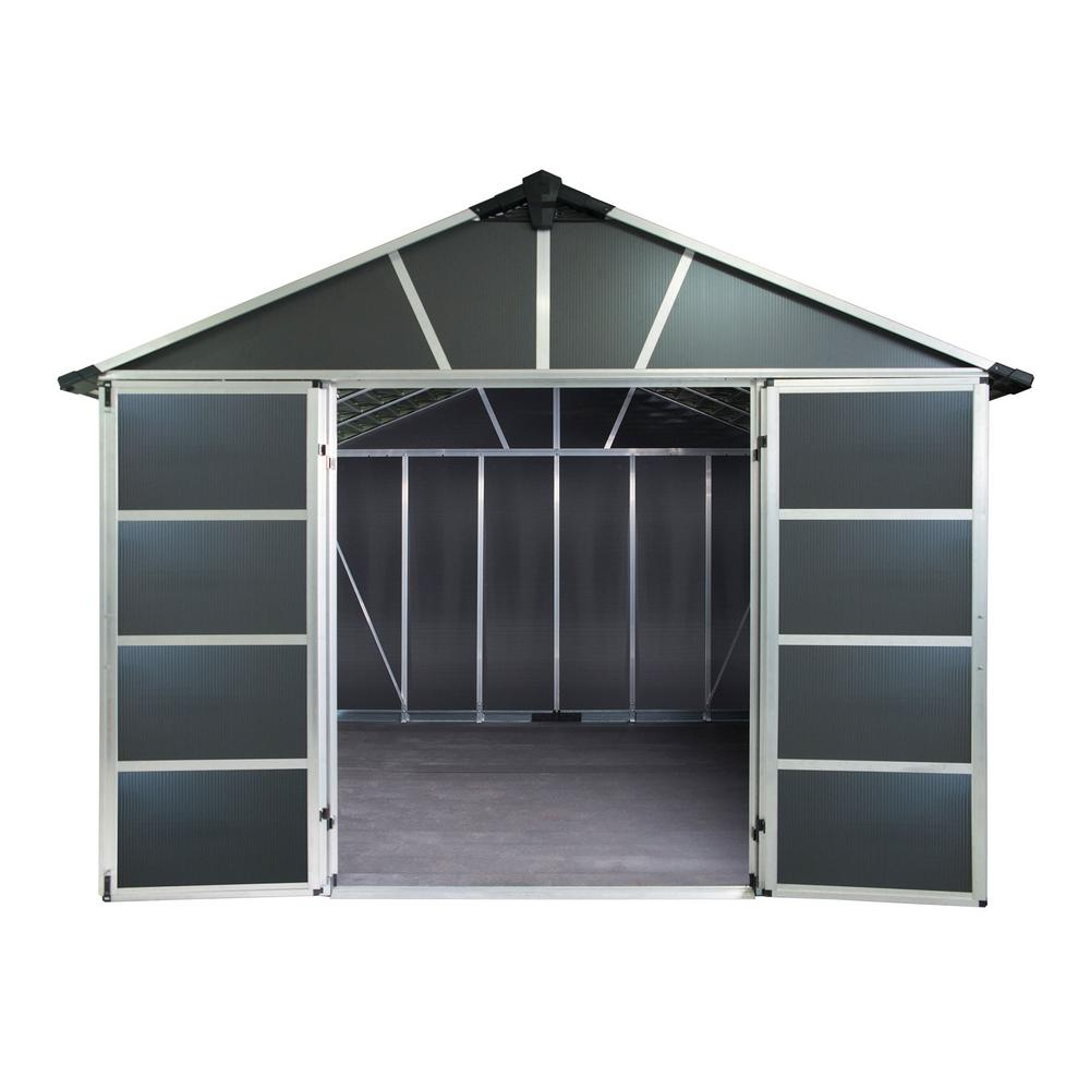 Palram Yukon 11 ft  W x 9 ft  D x 8 3 ft  H Dark Gray Storage Shed with WPC  Floor Kit