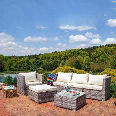 Boa Vista 6-Piece Wicker Rattan Outdoor Sofa Patio Furniture Set with Beige Cushions