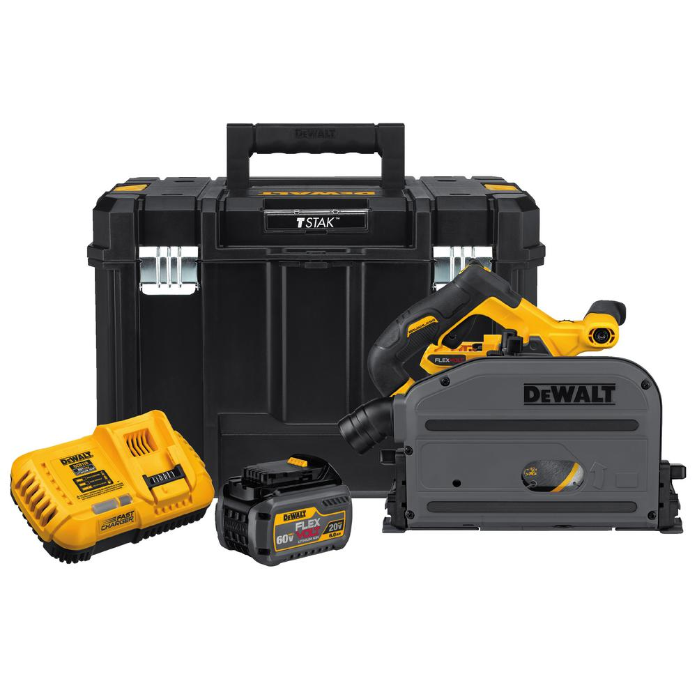 DEWALT FLEXVOLT 60-Volt MAX Lithium-Ion Cordless Brushless 6-1/2 in. Track Saw Kit with Battery 2Ah, Charger and Case