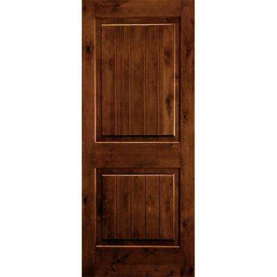 36 in. x 80 in. Rustic Knotty Alder Square Top V-Grooved Red Chestnut Stain Right-Hand Wood Single Prehung Front Door