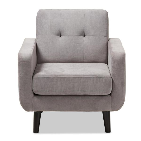 Baxton Studio Carina Light Gray Fabric Upholstered Lounge Chair 145-8215-HD