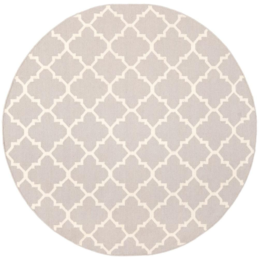 Safavieh Dhurries Grey/Ivory 6 ft. x 6 ft. Round Area Rug